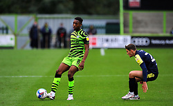 Ebou Adams of Forest Green Rovers tries to hold off Jack Smith of Stevenage- Mandatory by-line: Nizaam Jones/JMP - 17/10/2020 - FOOTBALL - innocent New Lawn Stadium - Nailsworth, England - Forest Green Rovers v Stevenage - Sky Bet League Two