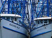 Shrimp boats of the Makandra fleet, Bayou La Batre, Gulf of Mexico Coast, Alabama.