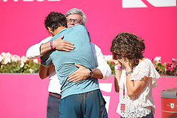 May 6, 2018 - Estoril, Portugal - Joao Sousa of Portugal celebrates with his parents after winning the Millennium Estoril Open ATP 250 tennis tournament final against Frances Tiafoe of US, at the Clube de Tenis do Estoril in Estoril, Portugal on May 6, 2018. (Credit Image: © Pedro Fiuza via ZUMA Wire)