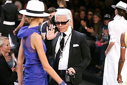 German designer Karl Lagerfeld during his Spring/Summer 2005 Ready-to-Wear Lagerfeld Gallery fashion collection at the Carrrousel du Louvre in Paris, France, on October 6, 2004. Photo by Java/ABACA.