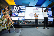 LAS VEGAS, NV - JULY 6:  Arianny Celeste gives Uriah Hall a perfect score during the UFC Lip Sync Challenge in Lagasse's Stadium at The Palazzo Las Vegas on July 6, 2016 in Las Vegas, Nevada. (Photo by Cooper Neill/Zuffa LLC/Zuffa LLC via Getty Images) *** Local Caption *** Arianny Celeste; Uriah Hall