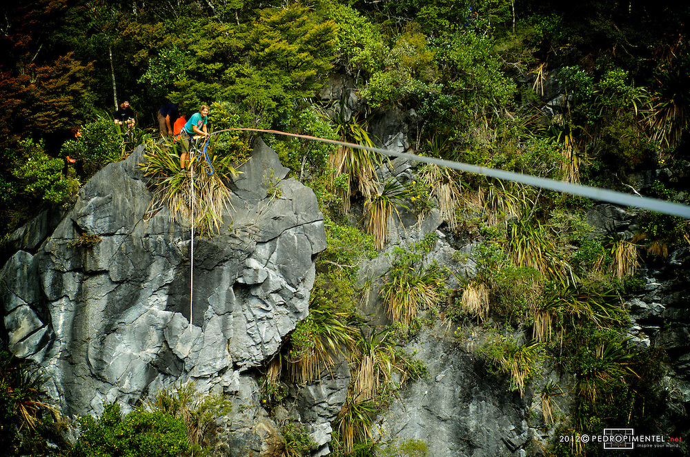 Florian Herla testing the line for the first attempt. New Zealand.