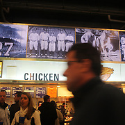 A fast food outlet with images of Yankee legends in Yankee Stadium during New York Yankees V Baltimore Orioles American League Division Series play-off decider at Yankee Stadium, The Bronx, New York. 12th October 2012. Photo Tim Clayton