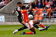 Wimbledon forward Jake Jervis (10), on loan from Luton Town, with a shot during the EFL Sky Bet League 1 match between Blackpool and AFC Wimbledon at Bloomfield Road, Blackpool, England on 20 October 2018.