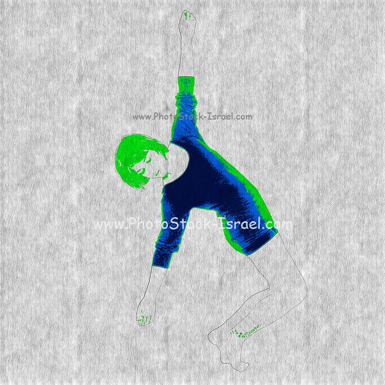 Digitally enhanced image of a Female Contemporary Dancer bending backwards