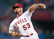The Angels' Hector Santiago gave up one run on seven hits in six innings of work against the Colorado Rockies Wednesday night at Angel Stadium. <br /> <br /> //ADDITIONAL INFO:   <br /> <br /> angels.0514.kjs  ---  Photo by KEVIN SULLIVAN / Orange County Register  --  5/13/15<br /> <br /> The Los Angeles Angels take on the Colorado Rockies Wednesday night at Angel Stadium.