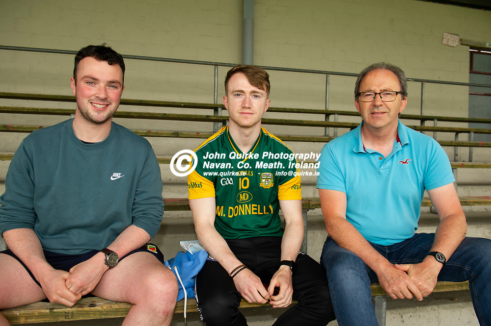 10-07-21. Meath v Cork - LGFA All-Ireland Senior Championship - Group 3 Round 1 at St. Brendan's Park, Birr.<br />From  Left, Liam McGovern, Kells Patrick Leahy and John Leahy, Navan  supporting the Meath ladies footballers at St. Brendan's Park, Birr.<br />Photo: John Quirke / www.quirke.ie<br />©John Quirke Photography, 16 Proudstown Road, Navan. Co. Meath. (info@quirke.ie / 046-9028461 / 087-2579454).