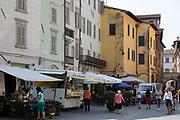 Market Square in Spoleto, Umbria, Italy. Piazza del Mercato, located in the historical centre of Spoleto.