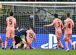 MILAN, Nov. 7, 2018  FC Inter's Mauro Icardi (2nd L) scores his goal during the UEFA Champions League Group B match between FC Inter and FC Barcelona in Milan, Italy, on Nov. 6, 2018. The match ended with 1-1 draw. (Credit Image: © Augusto Casasoli/Xinhua via ZUMA Wire)