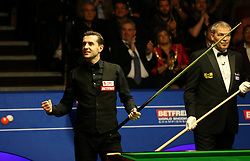 Mark Selby celebrates winning the Betfred Snooker World Championship with his daughter Sofia Maria and wife Vikki Layton on day seventeen of the Betfred Snooker World Championships at the Crucible Theatre, Sheffield.