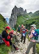 Hauser spire (1951 m) rises above Saxer Lücke pass (1649m), above Bollenwees basin, in the Alpstein range, Appenzell Alps, Switzerland, Europe. Saxer Lücke is the most prominent geological fault in the Alpstein, forming a fissure or gap in the ridgeline (Lücke=gap). A spectacular ridge walk covered in wildflower gardens starts at Hoher Kasten, reached via cable car from Brülisau, just 10 minutes bus ride from Appenzell village. For a wonderful day hike, take the lift; or arranging for overnight stay at Berggasthaus Staubern or beautiful Bollenwees allows time to ascend Hoher Kasten summit (1794 m) on foot. For licensing options, please inquire.