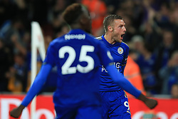 11 August 2017 -  Premier League - Arsenal v Leicester City - Jamie Vardy of Leicester City celebrates scoring his 2nd goal with Wilfred Ndidi  - Photo: Marc Atkins / Offside.