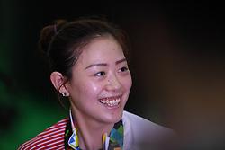 PALEMBANG, Aug. 19, 2018  Ji Xiaojing of China smiles after winning the 10m Air Pistol Mixed Team gold medal at the 18th Asian Games in Palembang, Indonesia Aug. 19, 2018. Wu Jiayu /Ji Xiaojing won the gold medal. (Credit Image: © Cheng Min/Xinhua via ZUMA Wire)