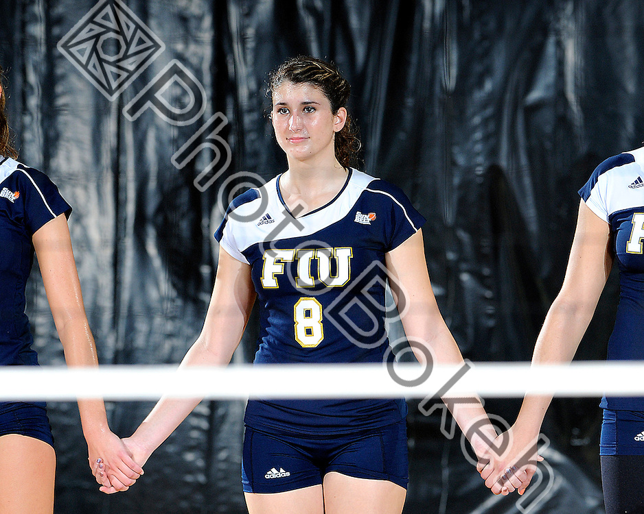 2011 October 28 - FIU's Nicole Beckelheimer (8) waiting for the match to start. Florida International University Golden Panthers defeated the Troy Trojans, 3-1, at U.S. Century Bank Arena, Miami, Florida. (Photo by: www.photobokeh.com / Alex J. Hernandez) 1/250 f/6.3 ISO400 450mm