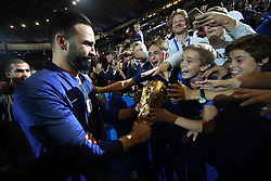 September 9, 2018 - Paris, 93, France - Adil Rami of France celebrate with the World Cup Trophy after the UEFA Nations League A group official match between France and Netherlands at Stade de France on September 9, 2018 in Paris, France. This is the first match of the French football team at the Stade de France since their victory in the final of the World Cup in Russia. (Credit Image: © Mehdi Taamallah/NurPhoto/ZUMA Press)