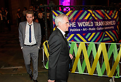 © Licensed to London News Pictures. 24/09/2016. Liverpool, UK. SEB CORBYN (left), son of Jeremy Corbyn and Shadow chancellor JOHN MCDONNELL leave the venue after celebrating the re-elected of Labour Party Leader Jeremy Corbyn at a party organised by Momentum in Liverpool.  Photo credit: Ben Cawthra/LNP