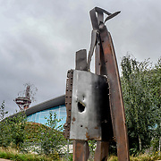 911 steel beam structure a Memorial 17 years later, London, UK