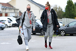 Jasmine Matthews of Bristol City Women and Yana Daniels of Bristol City Women arrives at Twerton Park prior to kick off - Mandatory by-line: Ryan Hiscott/JMP - 18/10/2020 - FOOTBALL - Twerton Park - Bath, England - Bristol City Women v Birmingham City Women - Barclays FA Women's Super League
