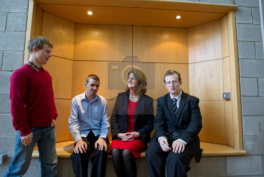 ITB and Daughters of Charity Service Launch Integrated Education Programme .Minister for Social Protection Joan Burton, joined the Institute of Technology Blanchardstown (ITB) and the Daughters of Charity Service to announce the launch of the Integrated Education Programme.  This is a unique education initiative for those with intellectual disabilities in the Dublin 15 seven other areas. Neil McCrone, Gavin Smith and Cormack Hurrel from Blanchardstown, are pictured with the Minister as they discussed the Integrated Education Programme that they are currently participating in. Pic Andres Poveda