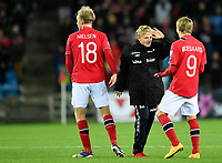 Fotball<br /> UEFA Euro 2016 Matchday 3<br /> Norge v Bulgaria / Norway v Bulgaria 2:1<br /> 13.10.2014<br /> Foto: Morten Olsen, Digitalsport<br /> <br /> Mats Møller Dæhli (20) - Cardiff / NOR (C)<br /> Håvard Nielsen (18) - Eintracht Braunschweig / NOR<br /> <br /> Martin Ødegaard (9) - Strømsgodset / NOR<br /> Became the youngest ever player to participate in an EURO game 15 years 301 days