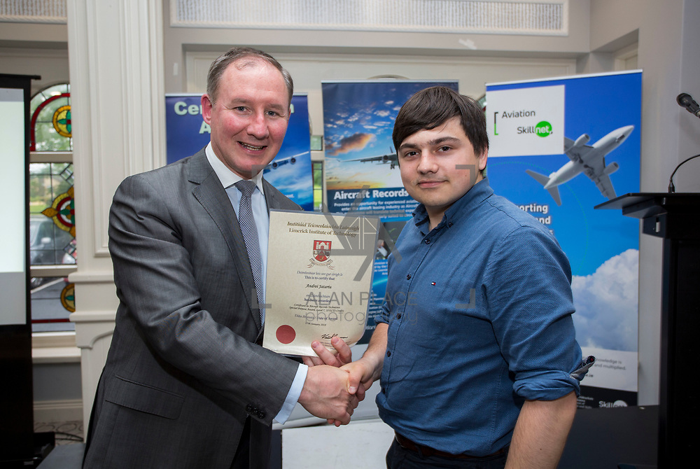 24.05.2018.       <br /> The Limerick Institute of Technology with Atlantic Air Adventures and funding from the Aviation Skillnet presented over forty certificates to Aviation professionals who have completed the Certificate in Aviation, The Aircraft Records Technician Level 7 and Part 21 Design, Level 7.<br /> <br /> Pictured at the event was Jim Gavin, The Irish Aviation Authority and Manager of the Dublin Football Team who presented, Andrei Jatariu with their cert.<br /> <br /> LIT in partnership with Atlantic Air Adventures, CAE Parc Aviation, Part 21 Design and industry experts such as Anton Tams, GECAS, Don Salmon, CAE Parc Aviation and Mick Malone, Part 21 Design have developed and deliver these key training programmes with funding for aviation companies provided by The Aviation Skillnet.<br /> <br /> . Picture: Alan Place