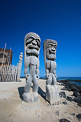 Traditional Hawaiian Tiki wood carvings, Pu`uhonua o Honaunau or Place of Refuge National Historical Park, Honaunau, Big Island, Hawaii