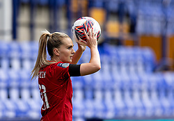 BIRKENHEAD, ENGLAND - Sunday, August 29, 2021: Liverpool's Melissa Lawley takes a throw-in during the FA Women's Championship game between Liverpool FC Women and London City Lionesses FC at Prenton Park. London City won 1-0. (Pic by Paul Currie/Propaganda)