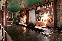 Bar in the dining room of the American Hotel, built in 1871 at Cerro Gordo, a mining community in the Inyo Mountains near Keeler, California