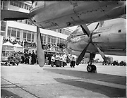 05/06/1955<br /> 06/05/1955<br /> 05th June 1955<br /> Blessing of the Aer Lingus fleet at Dublin Airport.  Picture shows the Lorcan O Tuatail being blessed outside the terminal.