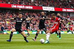 Britt Assombalonga of Middlesbrough shoots at goal - Mandatory by-line: Robbie Stephenson/JMP - 12/05/2018 - FOOTBALL - Riverside Stadium - Middlesbrough, England - Middlesbrough v Aston Villa - Sky Bet Championship