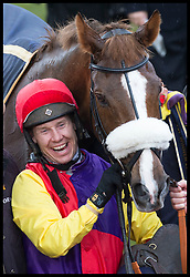 March 16, 2018 - Cheltenham, United Kingdom - Image licensed to i-Images Picture Agency. 16/03/2018. Cheltenham , United Kingdom. Jockey Richard Johnson with  his horse Native River after they won the  Gold Cup on the final day of  the Cheltenham Festival, United Kingdom. (Credit Image: © Stephen Lock/i-Images via ZUMA Press)