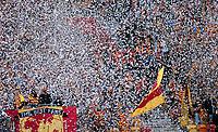08.03.2014 Bialystok Mecz 25 kolejki T-Mobile Ekstraklasy pomiedzy Jagiellonia Bialystok ( zolto-czerwone ) a Zaglebiem Lubin ( biale ) zakonczony wynikiem 1 : 0 N/z kibice Jagiellonii fot Michal Kosc / AGENCJA WSCHOD