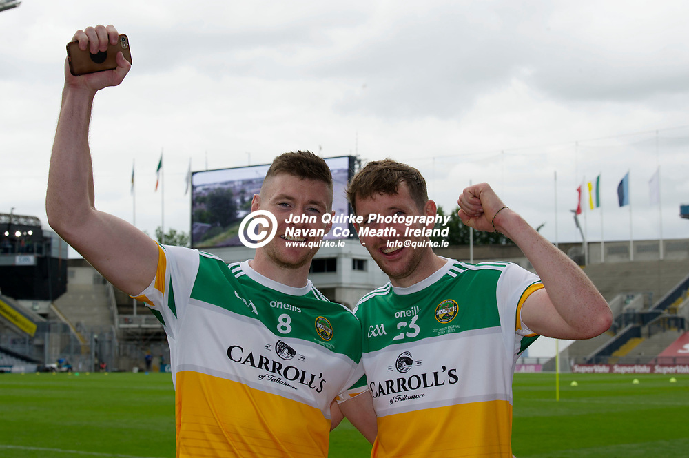 01–08-21.<br /> Derry v Offaly - Christy Ring Cup Final at Croke Park.<br /> Leon Fox and Damien Egan celebrating Offaly's victory. <br /> Photo: John Quirke / www.quirke.ie<br /> ©John Quirke Photography, 16 Proudstown Road, Navan. Co. Meath. (info@quirke.ie / 046-9028461 / 087-2579454).