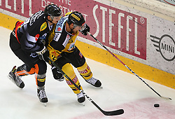 21.10.2016, Albert Schultz Halle, Wien, AUT, EBEL, UPC Vienna Capitals vs Dornbirner Eishockey Club, 12. Runde, im Bild Oliver Achermann (Dornbirner Eishockey Club) und Jonathan Ferland (UPC Vienna Capitals) // during the Erste Bank Icehockey League 12th Round match between UPC Vienna Capitals and Dornbirner Eishockey Club at the Albert Schultz Ice Arena, Vienna, Austria on 2016/10/21. EXPA Pictures © 2016, PhotoCredit: EXPA/ Thomas Haumer