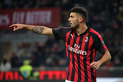 January 26, 2019 - Milan, Milan, Italy - Patrick Cutrone #63 of AC Milan during the serie A match between AC Milan and SSC Napoli at Stadio Giuseppe Meazza on January 26, 2018 in Milan, Italy. (Credit Image: © Giuseppe Cottini/NurPhoto via ZUMA Press)