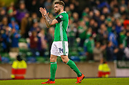 Northern Ireland players celebrates at full time during the UEFA European 2020 Qualifier match between Northern Ireland and Estonia at National Football Stadium, Windsor Park, Northern Ireland on 21 March 2019.