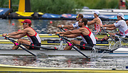 Poznan, POLAND, 21.06.19,  Friday,  CAN M2X, <br /> Matthew BUIE and  Aaron<br /> LATTIMER, at the start, World Rowing Cup II, Malta Lake Course, © Peter SPURRIER/Inter, sport Images, <br /> <br /> 11:02:03