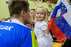Daughter of Marko Bezjak #8 of Slovenia during handball match between National teams of Slovenia and Hungary in play off of 2015 Men's World Championship Qualifications on June 15, 2014 in Rdeca dvorana, Velenje, Slovenia. Photo by Urban Urbanc / Sportida