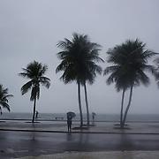 A rainy day in Rio de Janeiro as the Copacabana beach front is hit by wind and rain, Rio de Janeiro,  Brazil. 15th July 2010. Photo Tim Clayton..