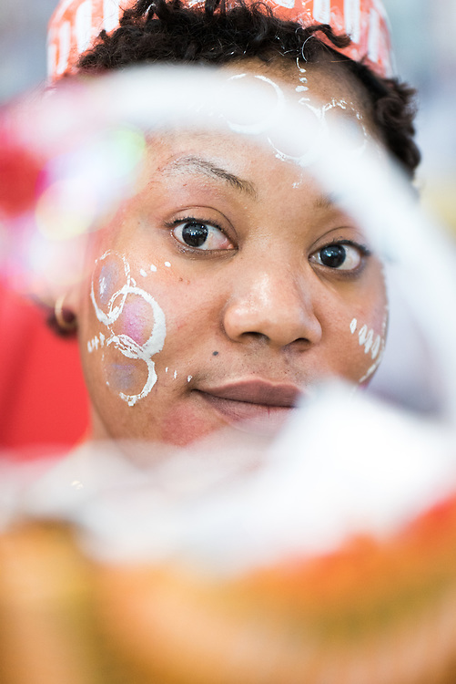"""5 December 2017, Abidjan, Côte d'Ivoire: Caresse, a woman representive of the organization BLETY, attends ICASA 2017 as part of the organization's work for """"no blame, only education"""" of people who make a living as sex workers. The organization supports sex workers through education in the field, working to prevent violence, and working for awareness-raising on how sex workers can protect themselves against HIV in their work. The19th International Conference on AIDS and STIs in Africa (ICASA) 2017 gathers thousands of researchers, medical professionals, academics, activists and faith-based organizations from all over the world, all looking to overcome the HIV epidemic and eliminate AIDS as a public health threat."""