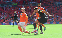 Lincoln City's Morgan Rogers vies for possession with Blackpool's Oliver Turton<br /> <br /> Photographer Chris Vaughan/CameraSport<br /> <br /> The EFL Sky Bet League One Play-Off Final - Blackpool v Lincoln City - Sunday 30th May 2021 - Wembley Stadium - London<br /> <br /> World Copyright © 2021 CameraSport. All rights reserved. 43 Linden Ave. Countesthorpe. Leicester. England. LE8 5PG - Tel: +44 (0) 116 277 4147 - admin@camerasport.com - www.camerasport.com