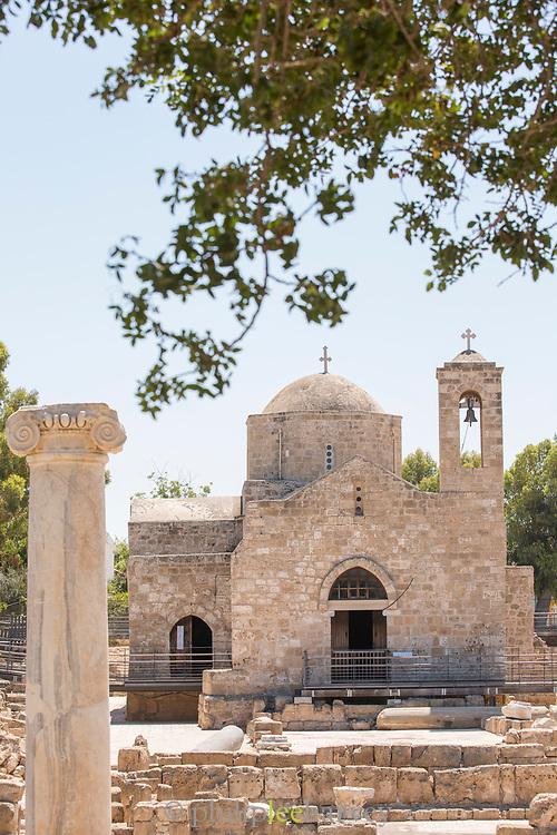Ayia Kyriaki Chrysopolitissa church in Paphos Archaeological Park in Cyprus