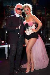 "NO TABLOIDS - NO WEB - NO APPS - Karl Lagerfeld with Rita Ora during rehearsal of ""The Rose Ball"", (Le Bal de La Rose), celebrates the 150th Anniversary of the Societe des Bains de Mer, held at Monaco, on March 23, 2013. Photo by Monte-Carlo SBM/Pierre Villard/ABACAPRESS.COM"