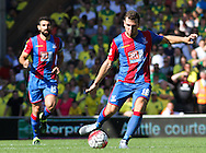 James McArthur plays the long ball during the Barclays Premier League match between Norwich City and Crystal Palace at Carrow Road, Norwich, England on 8 August 2015. Photo by Craig McAllister.