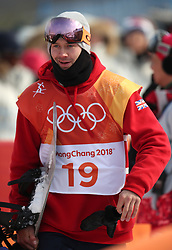 Great Britain's Billy Morgan in run 1 of qualification for Men's Snowboard Slopestyle the PyeongChang 2018 Winter Olympic Games in South Korea.