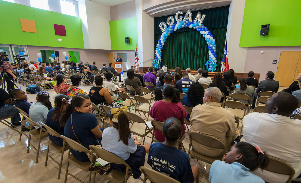 Tarrieck Rideaux comments during a dedication ceremony at Dogan Elementary School, September 29, 2014.