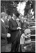 Funeral of Eamon DeValera.   (J72)..1975..02.09.1975..09.02.1975..2nd September 1975..Today saw the funeral of Eamon DeValera. He was laid to rest beside his wife Sinead in Glasnevin Cemetery,Dublin. Dignitries from all around the world attended at the funeral..Family members of Eamon DeValera accept condolences from members of the public.