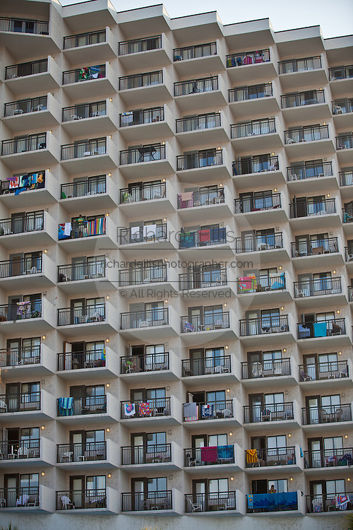 Crowded hotel tower along the beach in Myrtle Beach, SC.