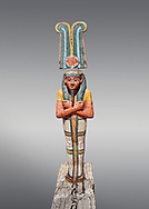 Ancient Egyptian statuette of Ptah Sokar Osiris, Late Period 25-26th Dynasty, (722-525 BC). Egyptian Museum, Turin. Grey background. Old Fund Cat 2466. .<br /> <br /> If you prefer to buy from our ALAMY PHOTO LIBRARY  Collection visit : https://www.alamy.com/portfolio/paul-williams-funkystock/ancient-egyptian-art-artefacts.html  . Type -   Turin   - into the LOWER SEARCH WITHIN GALLERY box. Refine search by adding background colour, subject etc<br /> <br /> Visit our ANCIENT WORLD PHOTO COLLECTIONS for more photos to download or buy as wall art prints https://funkystock.photoshelter.com/gallery-collection/Ancient-World-Art-Antiquities-Historic-Sites-Pictures-Images-of/C00006u26yqSkDOM