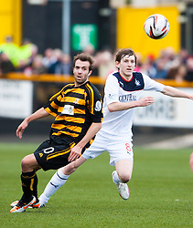 Alloa Athletic's Graeme Holmes and Falkirk's Blair Alston.<br /> Alloa Athletic 0 v 0 Falkirk, Scottish Championship 12/10/2013. played at Recreation Park, Alloa.<br /> ©Michael Schofield.